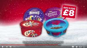 Spar/Eurospar/Vivo/Vivoxtra  NI 12 deals of Christmas (Week 3) Roses/Heroes/Quality Street/Celebrations 660g/680g/750g Tubs 2 for £8 Instore Ends 29th October