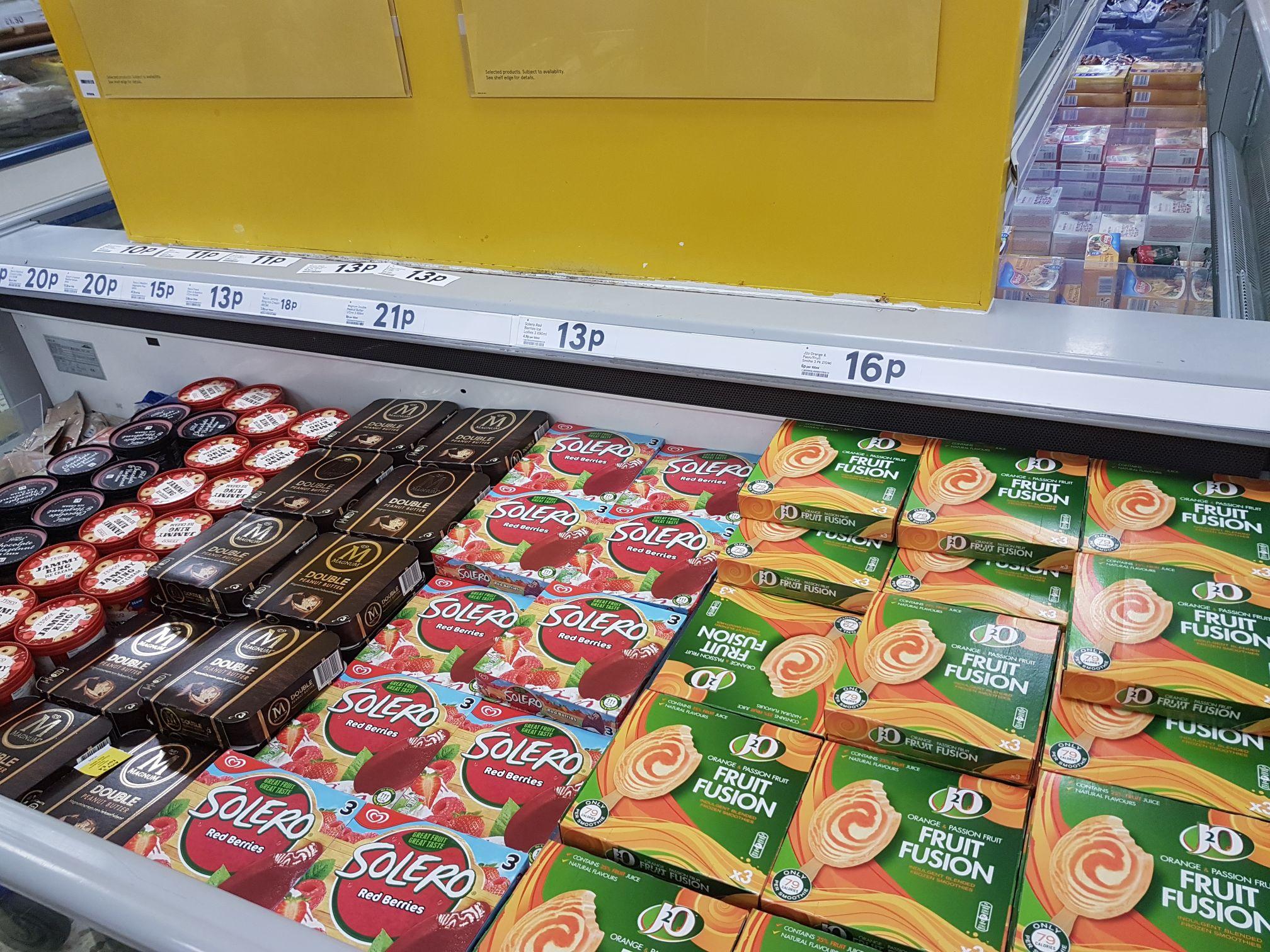 Solero red berries ice lollys 3pack 13p at Tesco Blackpool
