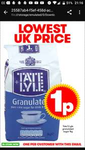 Tate & Lyle 1kg bag of sugar 1p c&c (max 1 per customer)