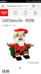 Lego 40206 Santa £6.99 @ Argos - This set appears to be a lot more elsewhere as now a retired set £14+