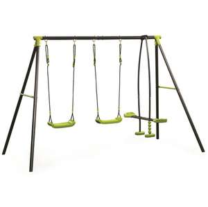 Kids Outdoor Garden Toy Metal Frame See Saw Glider Double Childrens Swing Set £49.99 @  Pink and Blue Gifts / Ebay