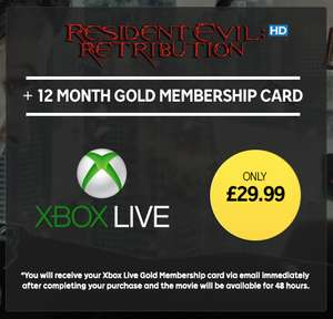 12 Month Xbox Live Gold Membership (& Resident Evil Retribution rental) - £29.99 - Rakuten.tv