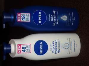 Nivea body lotion with the pump 400ml: Express Hydration £2.10 & Rich Nourishing £2.25 ! at TESCO instore