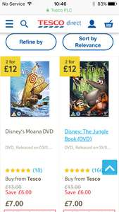 Disney DVD 2 for £10 blu ray 2 for £13 includes new titles. Tesco online and instore with code/voucher