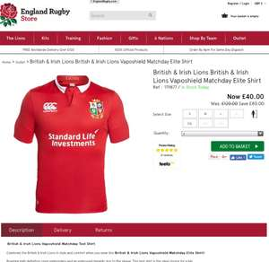 British & Irish lions Elite shirt at £44.95 Delivered @ England Rugby Store