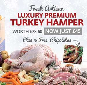 Christmas Turkey Hamper - Breakfast / Dinner sorted for £45 Delivered + 16 Free Chipolata Sausages [Serves 6-8 people] / Smaller Turkey Hamper £29.99 all in / Luxury Whole Fresh Turkey Hen - 3-3.4kg £12 (£24.99 min spend / £4.99 del) @ Musclefood /