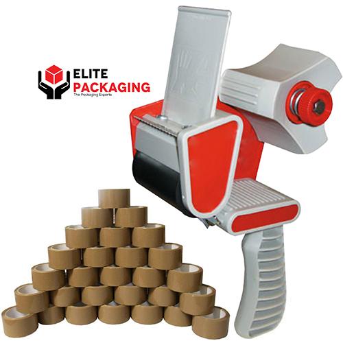 Tape gun dispenser + 12 Rolls of Brown OR Clear tape - £9.96 delivered / 6 Rolls £7.86  delivered @ eBay / Elite packaging