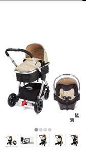 Mothercare 4-Wheeled Journey Black Travel System with Car Seat + FREE Mothercare Messenger Changing Bag and Mothercare Journey seat liner worth £60 - £269.10