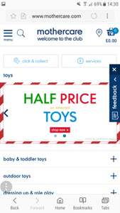 Mothercare Half price toys instore / online