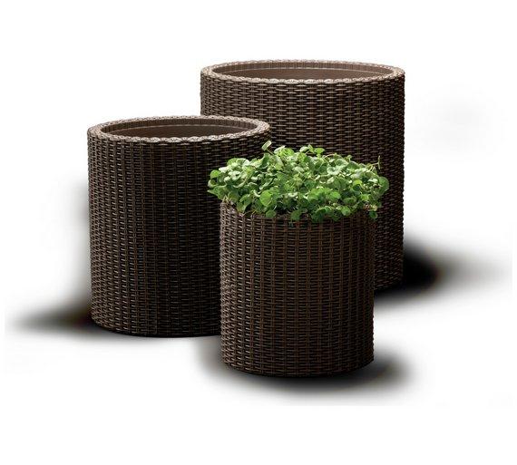 Keter Rattan Set Of 3 indoor/outdoor Planters now £34.99 @ Argos