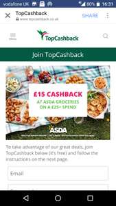 £15 cashback with shop of over £25 @ ASDA via Topcashback - New customers