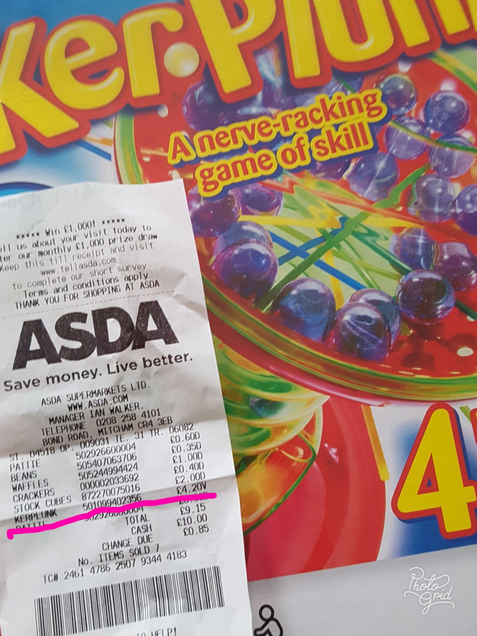 Kerplunk  Board Game from Hasbro Gaming £4.20 @ Asda Mitcham