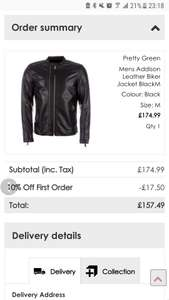 Pretty Green Addison Real Leather Jacket only £157.49 with code at getthelabel.com