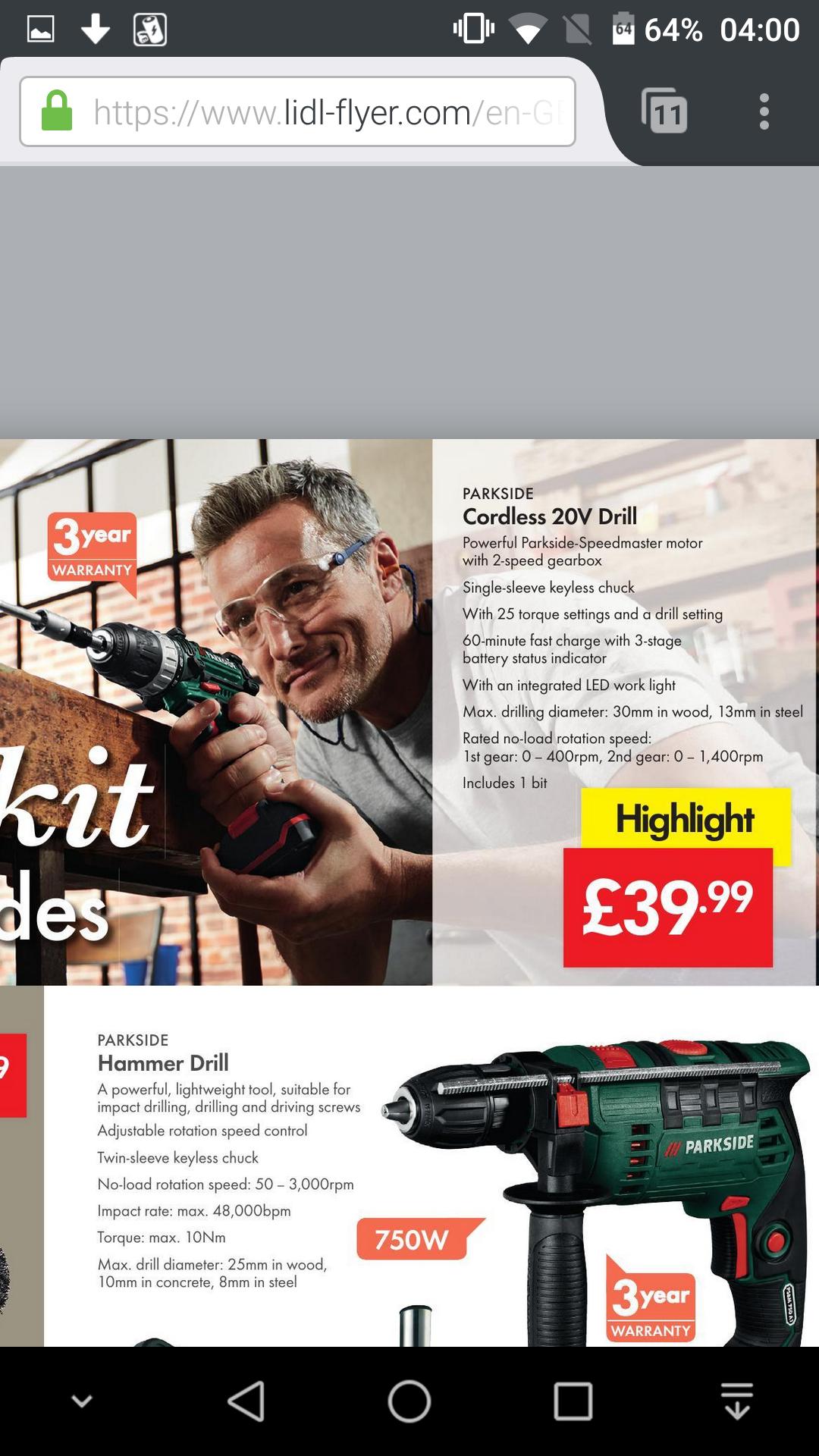 Parkside 20 volt cordless drill £39.99 @ lidl