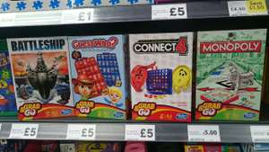 Hasbro Grab & Go - Monopoly, Battleship, Guess Who? and Connect 4 £5 @ Tesco Online & Instore