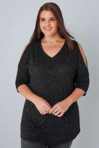 Black Cold Shoulder Jersey Top With Silver Metallic Thread Detail £14.39 @ Yours clothing - Free c&c