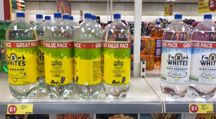 R Whites 3L bottles of  Lemonade £1 at Iceland instore & online