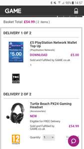 Free £5 PS4 Credit with Turtle beach PX24 Headset purchase £54.99 @ Game