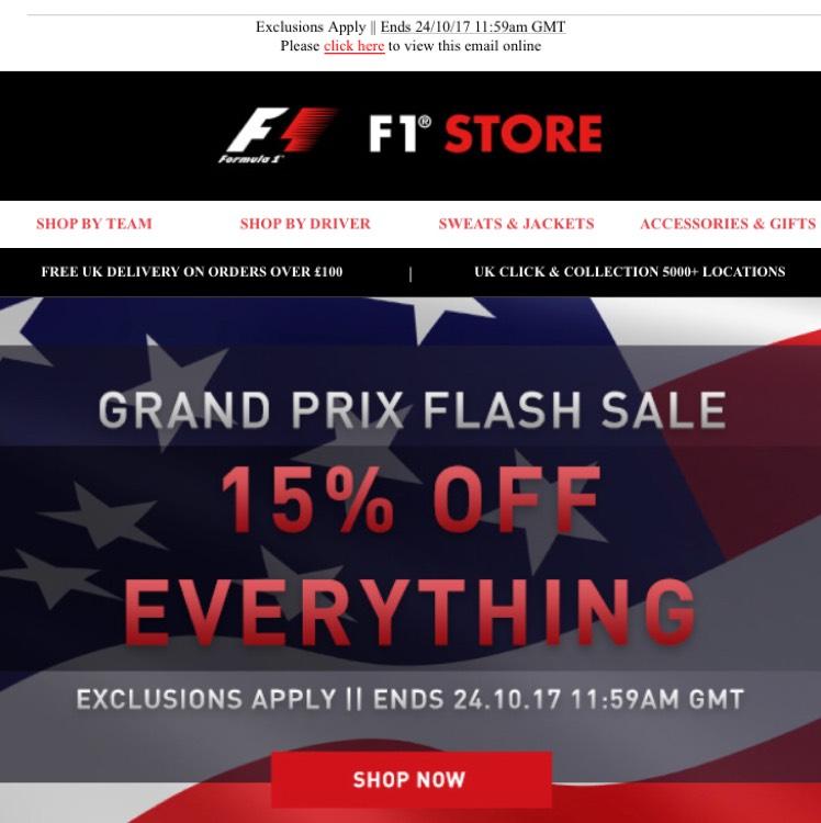 US GP Flash Sale on F1 Store - 15% Off