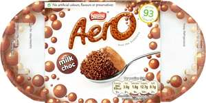 Aero Milk Chocolate Bubbly Mousse (4 x 59g = 236g) was £1.40 now 70p @ Iceland