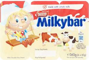 Nestle Milkybar White Chocolate Mousse (6 x 60g) Offer price £1, was £1.37 @ Morrisons