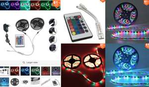 10 metre waterproof Red/Green/Blue 600 LED Strip Light: inc Controller & Cable Connector & Adapter DC12V £8.55 @ BangGood