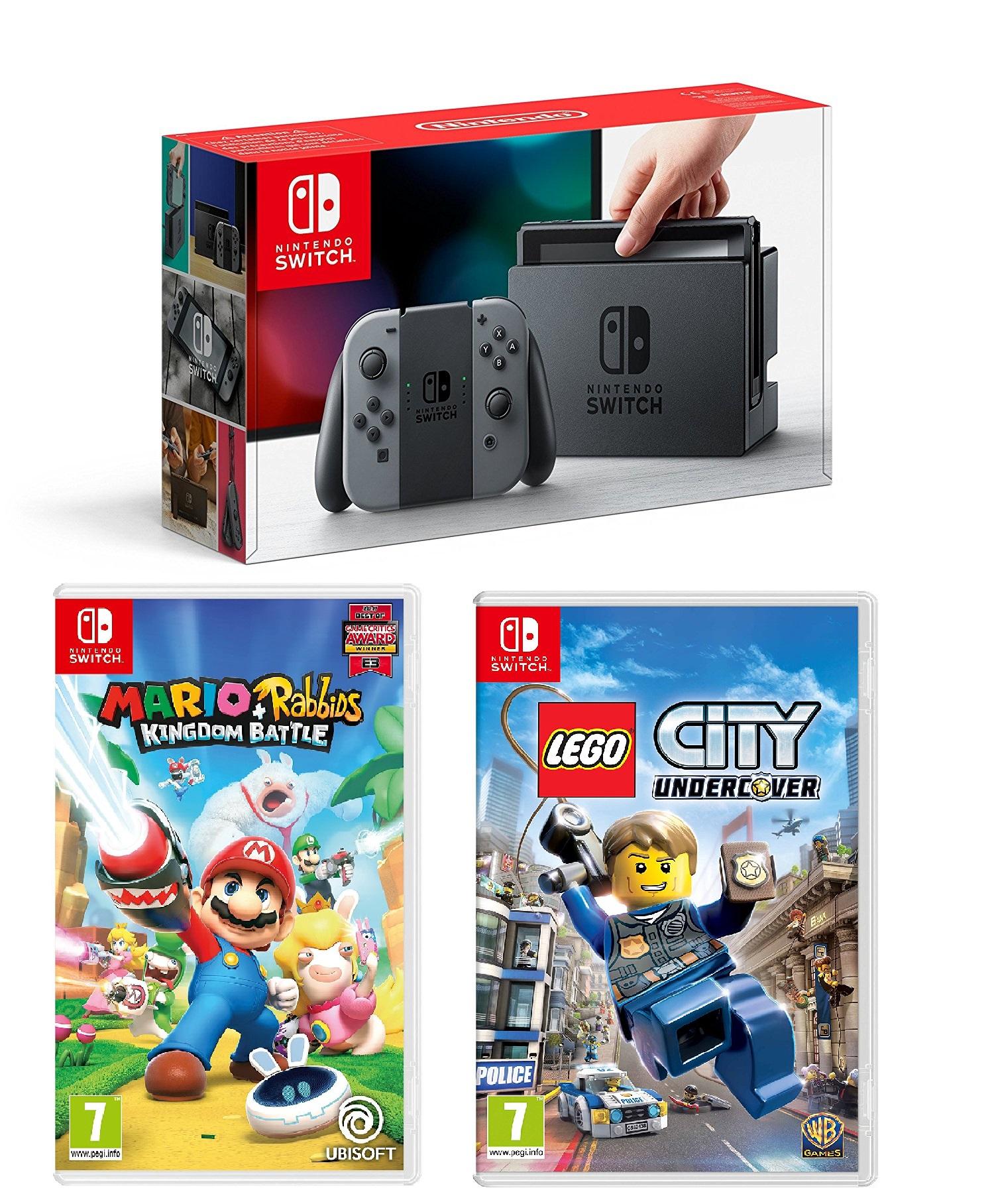 Nintendo Switch console Grey + Mario Rabbids Kingdom Battle + Lego City Undercover £299.99 @ Tesco Direct