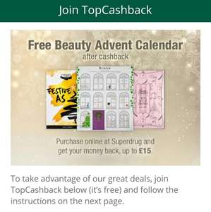 Free Advent Calendar when signing up to Topcashback from Superdrug