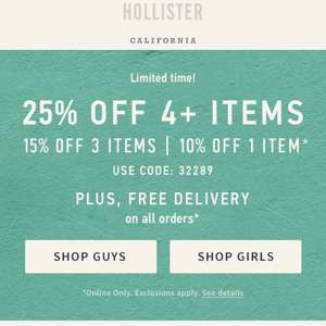 Hollister upto 25% off and free delivery (10% Off 1 Item / 15% Off 3 Items / 25% Off 4 Items)