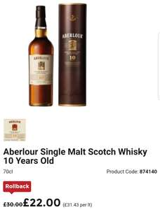 Aberlour 10 year single malt £22 @ Asda