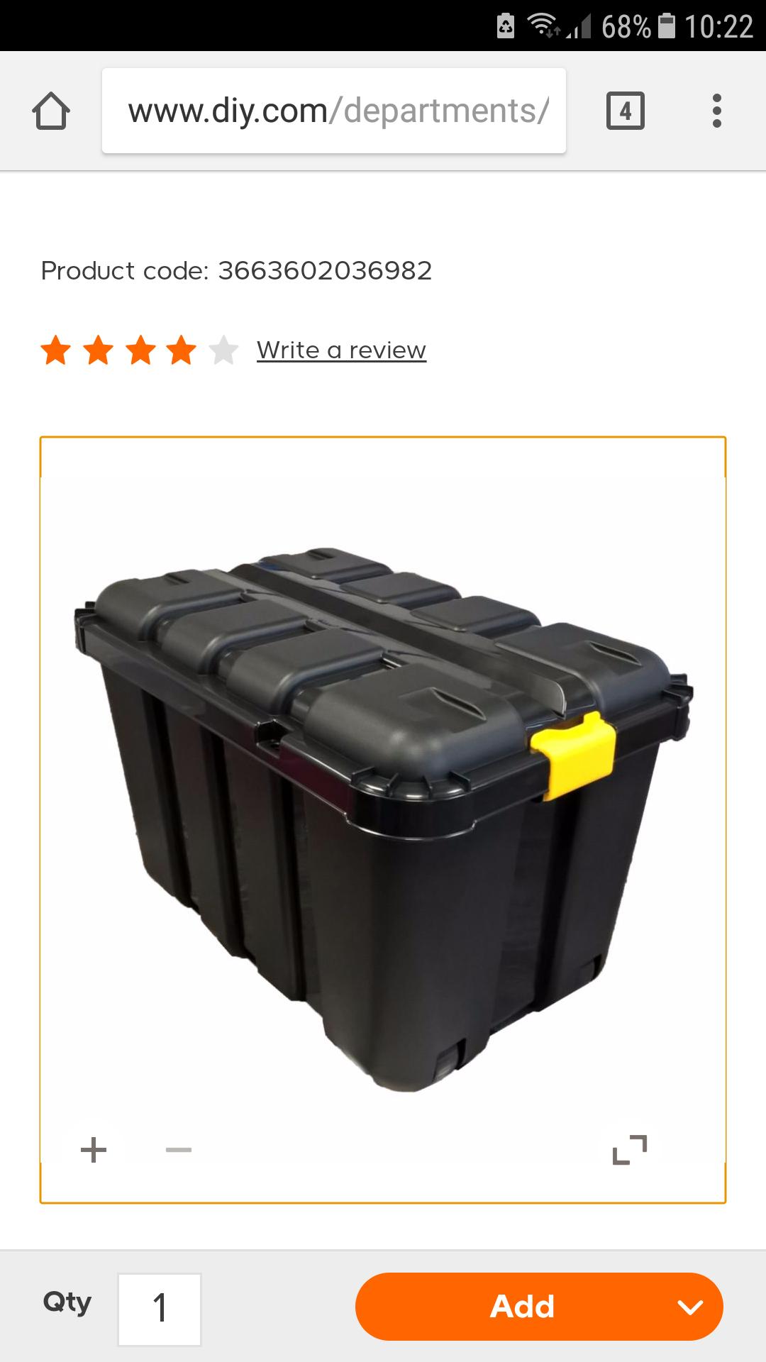 b and q black 145L plastic storage with wheels - £12 @ B&Q