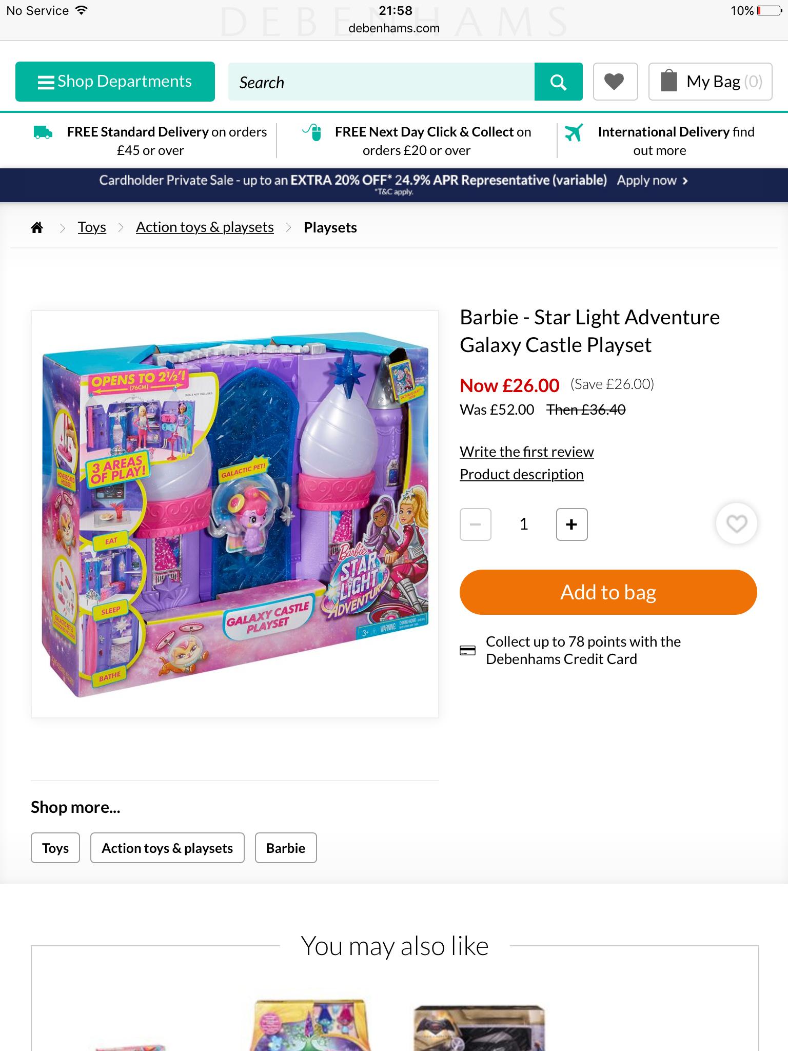 Barbie starlight Adventure Galaxy castle playset £26 @ Debenhams - Free c&c