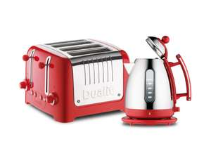 Dualit Lite Kettle & 4 Slot Toaster Set in Gloss Red only £99 on
