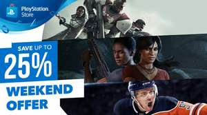 PlayStation store weekend sales upto 25% off this weekend only