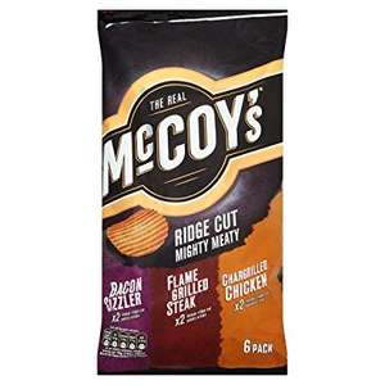 McCoys Ridge Cut Mighty Meat Crisps (6pk) was 99p now 79p @ B&M