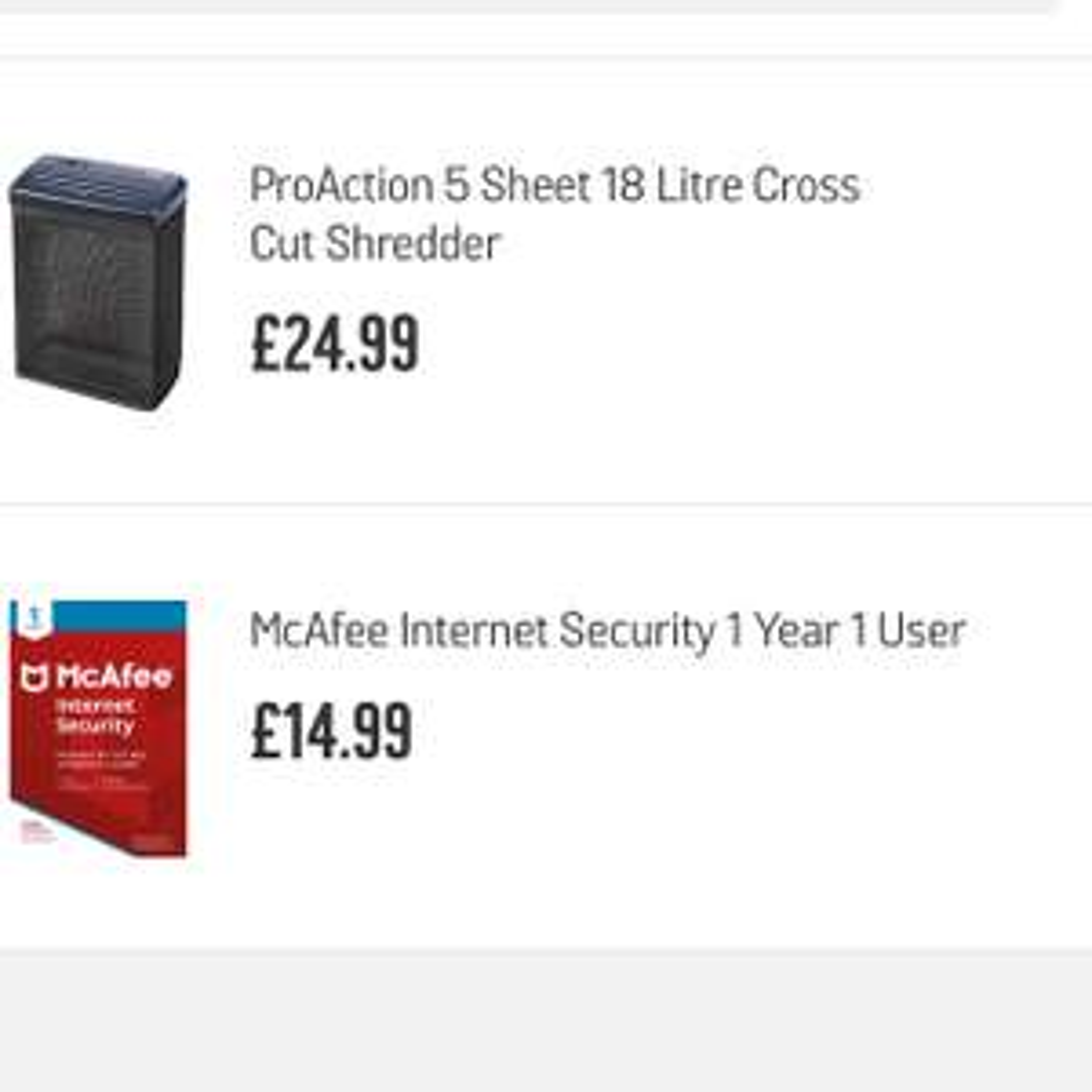 Proactive cross cut shredder £24.99 plus you get £14.99 worth Macfee internet security free @ Argos