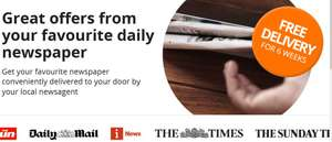 FREE delivery of your favourite newspaper for 6 weeks (You still pay for the newspaper) - Delivery days optional - Stackable with existing newspaper delivery/voucher offers