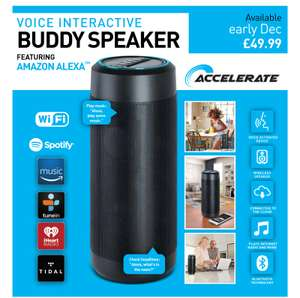 Buddy speaker featuring Alexa, looks like the full size Echo for £49.99 (Available early December) @ Home bargains - Free c&c