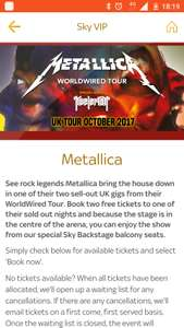 FREE tickets to Metallica for Sky VIP customers