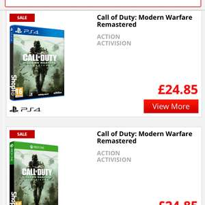 Call of duty Modern warfare remastered PS4 Xbox one £24.85 @ Shopto