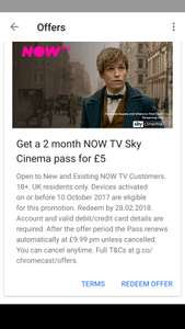 2 months NOW TV Cinema Pass for £5 via Chromecast