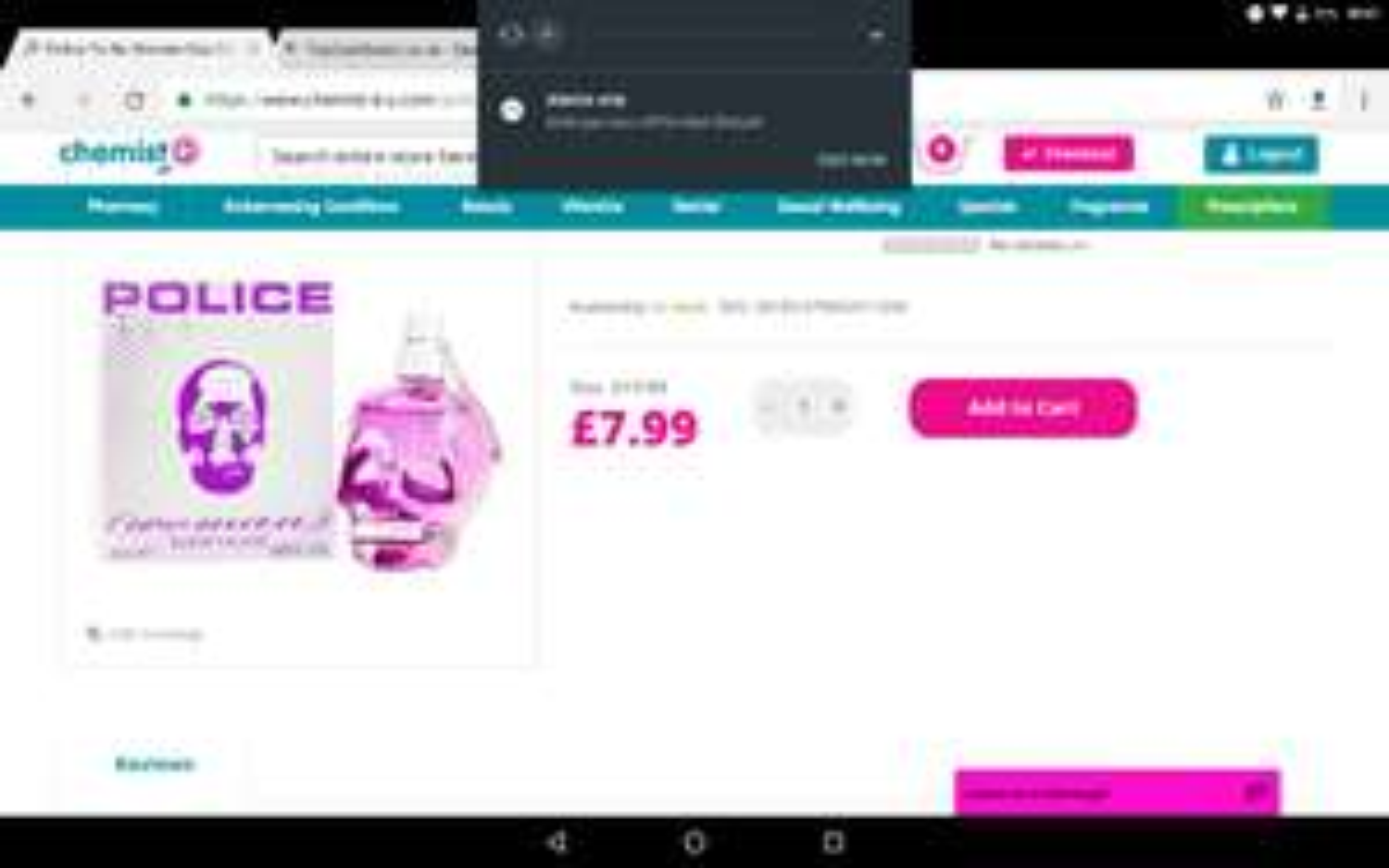 Police perfume £7.99 + £1.99 Del @ chemist4u (free del wys £25)