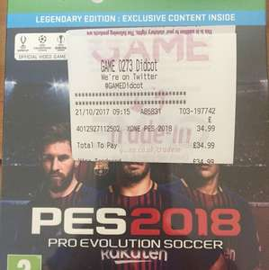 PES 2018 Legendary Edition X1 PS4 £34.99 @ Game