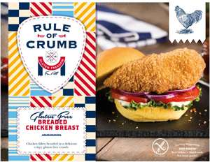 Rule of Crumb Gluten Free Chicken (77%) Breaded Fillet (350g) was £4.60 now £2.30 @ Ocado