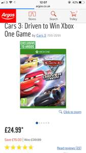 Cars 3 Driven to Win Xbox one game - £24.99 @ Argos