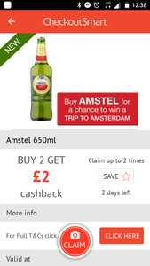 Buy two bottles of Amstel for £1.67 (each) in Morrisons get £2 cashback with Checkout Smart/Clicksnap