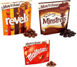 Galaxy Revels 173g - Galaxy Minstrels 210g + Maltesers 166g more to share bags all reduced to £1.40 @ Asda