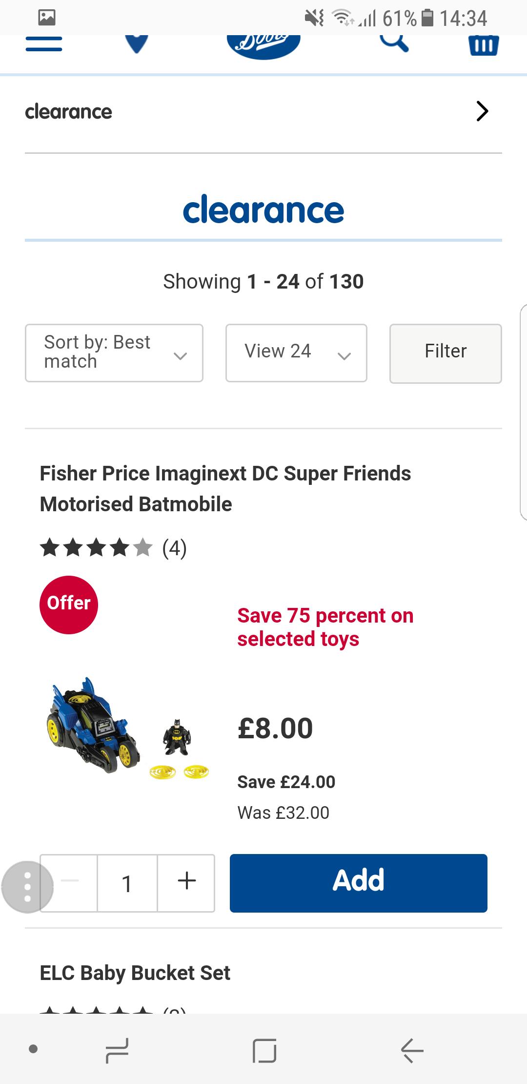 Imaginext motorised batmobile - £8 @ Boots