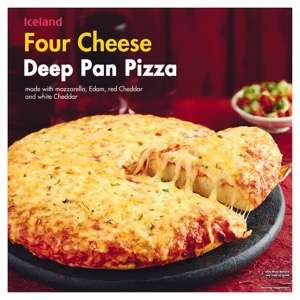 Iceland Double Pepperoni or Four Cheese Deep Pan Pizza (385g / 408g) back down to £1.00 @ Iceland