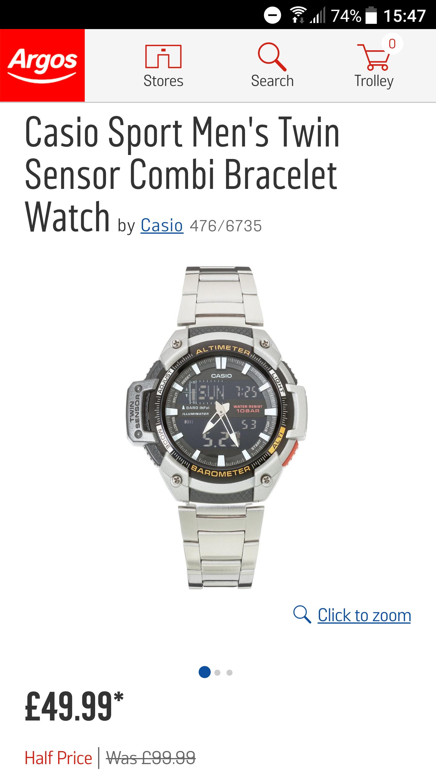 Casio Sport Mens Twin Sensor Combi Bracelet Watch Half Price - £49.99 @ Argos